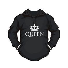 Hoodie Queen Partner Pulli Couple Shirt bedruckst mit Krone für Paare (M, schwarz) - 1