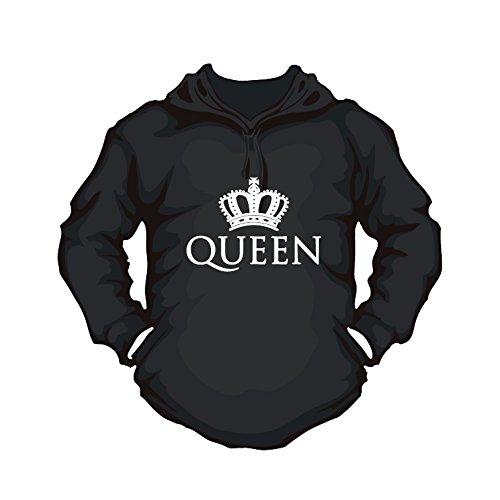 Hoodie Queen Partner Pulli Couple Shirt bedruckst mit Krone für Paare (M, schwarz) -