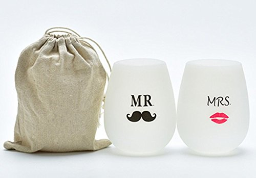 Hubitowis Herr und Mrs.Cocktail Caddy Silikon Weingläser Tragbare Unbreakable Gläser für Wandern Camping und Parties Am besten als Hochzeitsgeschenke für Braut & Bräutigam. Set bestehend aus 2 - einzigartig, lustig, Neuartige Becher Stemless Funny & einzigartige personalisierte Neuartige Becher -