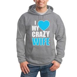 I Heart My Crazy Wife Grau Large Kapuzenpullover Hoodie - Ich Liebe Meine Verrückte Ehefrau / Geschenkidee Valentinstag Hochzeitstag Jubiläum -