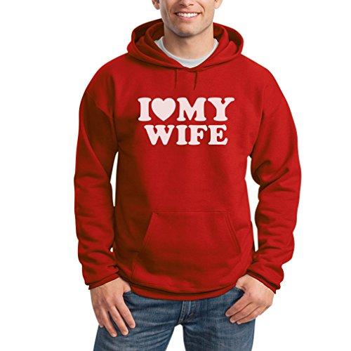 I Heart My Wife Rot Large Kapuzenpullover Hoodie - Liebe Meine Ehefrau Herz / Hochzeitstag Valentinstag Geschenk -