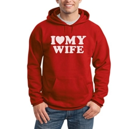 I Heart My Wife Rot XX-Large Kapuzenpullover Hoodie - Liebe Meine Ehefrau Herz / Hochzeitstag Valentinstag Geschenk -