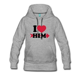 I Love Him Frauen Premium Kapuzenpullover von Spreadshirt® -