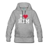 I Love Him Frauen Premium Kapuzenpullover von Spreadshirt® -
