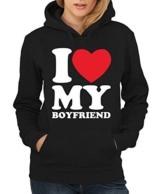 -- I love my boyfriend -- Girls Kapuzenpullover Farbe Schwarz, Größe XL -