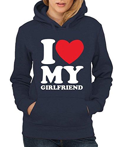 -- I love my girlfriend -- Girls Kapuzenpullover Farbe Kelly Green, Größe XL -