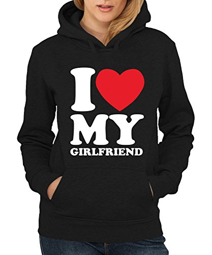 -- I love my girlfriend -- Girls Kapuzenpullover Farbe Kelly Green, Größe XL -