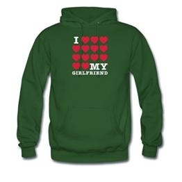 I Love My Girlfriend Männer Premium Kapuzenpullover von Spreadshirt, XXL, Grün -