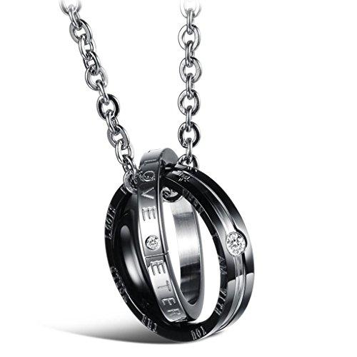 Jewow Schmuck Edelstahl Verliebte Paar Halskette Doppelt Ring Anhänger mit Gravur für Sie und Ihn -