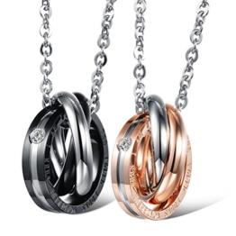 Jewow Schmuck Edelstahl Verliebte Paar Halskette Anhänger mit Gravur für Sie und Ihn -