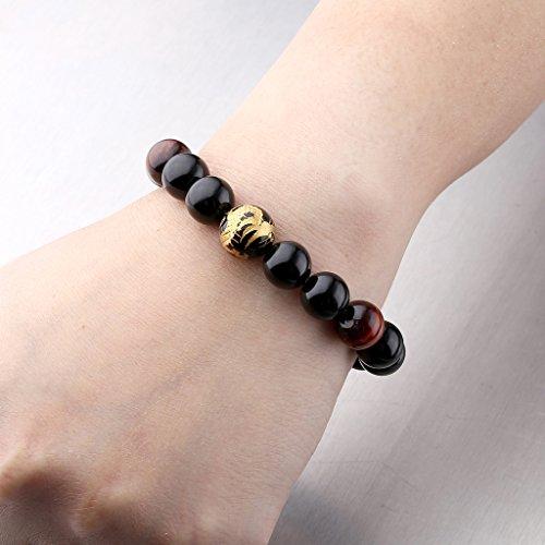 JOVIVI Herren Armband,Tiger-Auge Achat Onyx Steinarmband Drachen Buddha Mala Energiearmband Stein Armband Armreif(Set) -