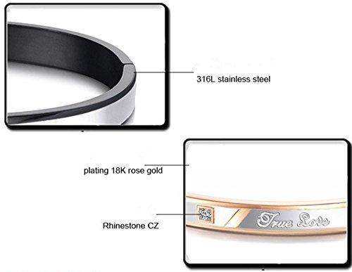 Jstyle Edelstahl verliebte Paare Armband Armreife Beste Herrenarmband Paararmband mit Gravur Freunde Freundschaft Rosegold Schwarz Größe: 18cm*8mm/ 17cm* 6mm -