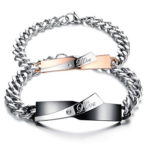 Jstyle Paar Armband mit gravur Edelstahl Freundschaft Armbänder Damen Herren Zirkonia Schwarz Armketten 21,5 cm rosegold für Lieben Frauen -