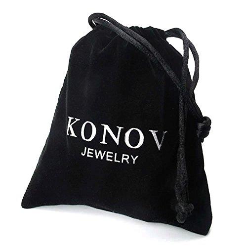 KONOV Schmuck 2 Freundschaftsketten Ringe Zirkonia Diamant Edelstahl Partner-Anhänger mit 45cm und 55cm Kette, Halskette für Damen & Herren, Gold Schwarz Silber -