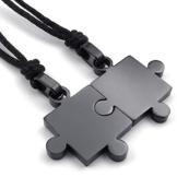 KONOV Schmuck 2 Freundschaftsketten Puzzle Edelstahl Partner-Anhänger mit Schwarz Seil Kette, Halskette für Damen & Herren, Schwarz -