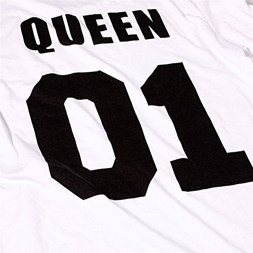 LATH.PIN-T-Shirt für Paar Queen King Motiv für Pärchen in Schwarz oder Weiß Für Hochzeit order Valetinstag -