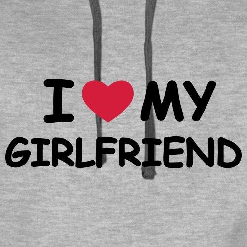Love Girlfriend Statement Männer Premium Kapuzenpullover von Spreadshirt, S, Grau meliert -