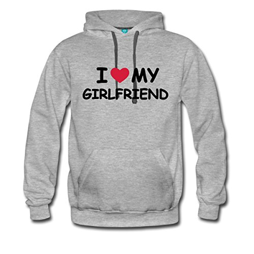 Love Girlfriend Statement Männer Premium Kapuzenpullover von Spreadshirt, S, Grau meliert -