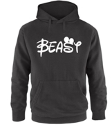 Luckja Beauty & Beast Pärchen Pullover Hoodie Schwarz-Weiss Grösse M -
