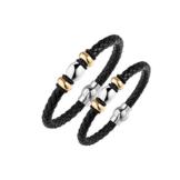Lunavit 2 Stck.-Partner-Armbänder DELUXE DUETT aus weichem Rindsleder und 316L Edelstahl mit goldplatinierten (24 Karat) Akzenten. 1 x hochreinem Germanium Insert, 1 Power-Magneten à 2000 Gauß -