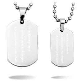 MeMeDIY 2 Stückes Silber Edelstahl Anhänger Halskette Dog Tag Partner mit 50cm & 58cm Kette - Kundenspezifische Gravur -