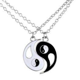 MJARTORIA Halskette Silberkette Charm Anhänger Yin Yang Partneranhänger Freundschaftskette -