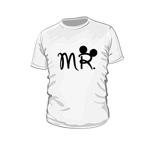 Mr. Marken Fun Shirt für Sie und Ihn Mr. & Mrs. Paar T-Shirts couple T-Shirt für Sie und Ihn, Neu trend, Herren (S, weiß) -