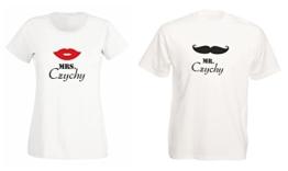 """""""Mr. & Mrs."""" Partner T-Shirt mit Namen, Kussmund & Schnauzer - Hochzeitsgeschenk -"""