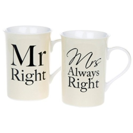 Mr & Mrs Right Bechers Boxed Pair - 1