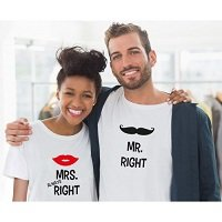 Mr. Right & Mrs. Always Right Partner T-Shirts - Hochzeitsgeschenk - Valentinstagsgeschenk -