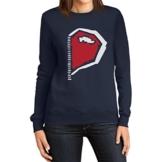 Paarmotiv Herz mit Reißverschluss Süß für Valentinstag Frauen Sweatshirt XX-Large Marineblau -