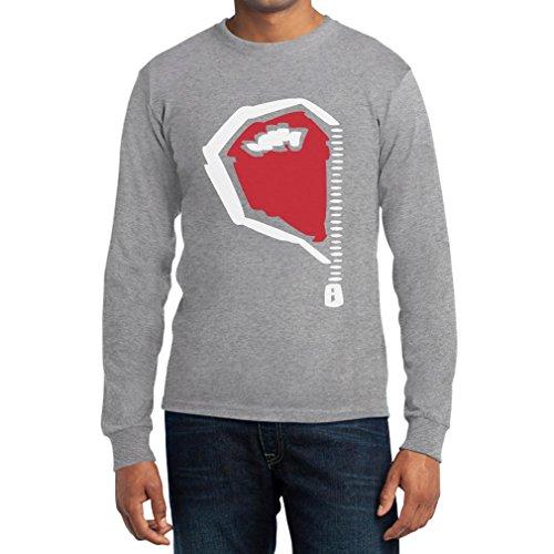Paarmotiv Herz mit Reißverschluss Süß für Valentinstag Langarm T-Shirt XX-Large Grau -