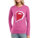 Paarmotiv Herz mit Reißverschluss Süß für Valentinstag Frauen Langarm-T-Shirt XX-Large Rosa -