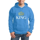 Pärchen Paarmotiv King Königs-Krone Kapuzenpullover Hoodie X-Large california blau -