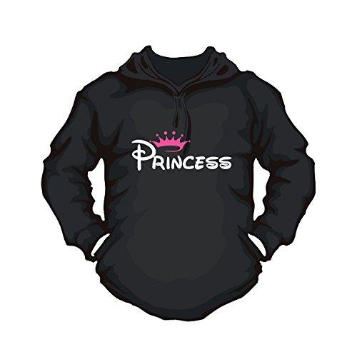 Partnerhoodie Princess mit Kapuze für Damen (XS, schwarz) -