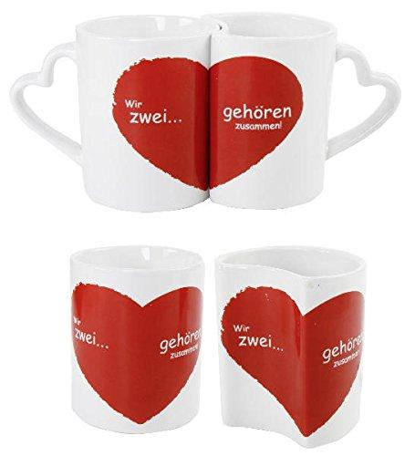 Partnertasse Paare Hochzeitsgeschenk Valentinstag Tassenset Wir Zwei gehören Zusammen - 1