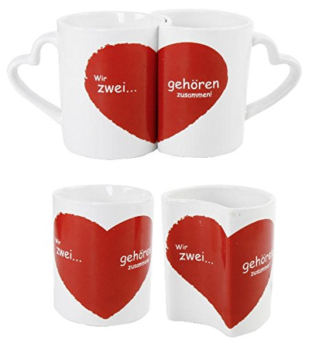 Partnertasse Paare Hochzeitsgeschenk Valentinstag Tassenset Wir Zwei gehören Zusammen -