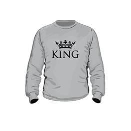 Pullover King, Partnerpullover, Druck mit Krone, Neu trend (M, grau) - 1