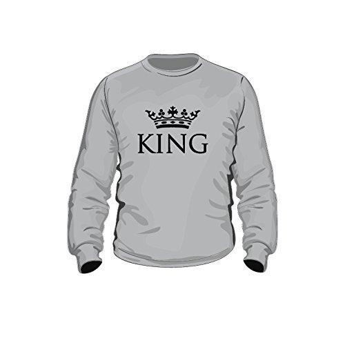 Pullover King, Partnerpullover, Druck mit Krone, Neu trend (M, grau) -