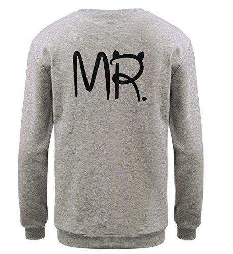 Qissy®Männer und Frauen Paar MR MRS zurück Buchstaben gedruckt Samtmantel Pullover (S, Rosa MRS+Grau MR) -
