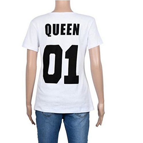 """Qissy®Shirt Liebhaber """"König"""", """"Queen"""" Tops T-Shirt Letter Print Paar Kurzarm T-Shirt-Ausschnitt Kurzarm Bluse Masse Lässige T-Shirt (M, schwarz+weiß) -"""