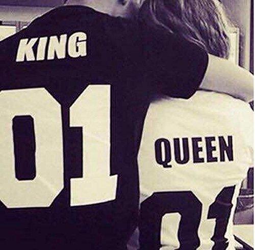 """Qissy®Shirt Liebhaber """"König"""", """"Queen"""" Tops T-Shirt Letter Print Paar Kurzarm T-Shirt-Ausschnitt Kurzarm Bluse Masse Lässige T-Shirt (L, schwarz+weiß) -"""