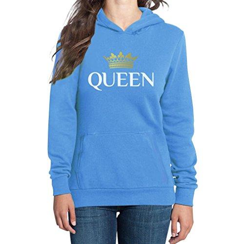Queen Königin-Krone Das Motiv für Pärchen Frauen Kapuzenpullover Hoodie Small california blau -