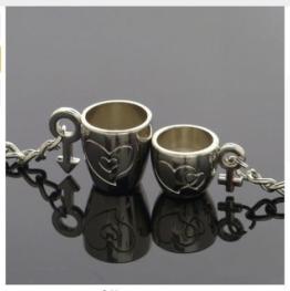 Schlüsselanhänger Tassen mit Herz und Aufschrift für Paare / Geliebte im Set Tassen -