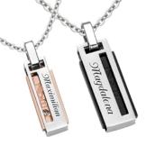 Schmuck-Pur Partner-Ketten mit persönlicher Laser-Gravur Partnerschmuck rose / schwarz Edelstahl mit Kristall 2 Halsketten 45 / 50 cm -