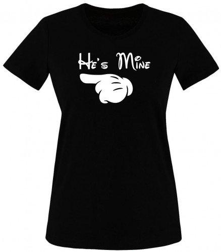 She´s mine & He´s mine T-Shirt Damen Schwarz Gr.L -