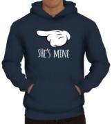 Shirtstreet24, Valentinstag - She's Mine, Kombi Herren Kapuzen Sweatshirt - Pullover Hoodie, Größe: M,Navy -