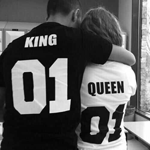 T-Shirt für Paar Queen King Motiv für Pärchen Frauen Herren Schwarz -