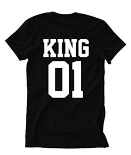 T-Shirt für Paar Queen King Motiv für Pärchen Frauen Herren in Schwarz oder Weiß -