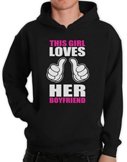 This Girl Loves Boyfriend Paar-Matching Schwarz Medium Kapuzenpullover Hoodie -